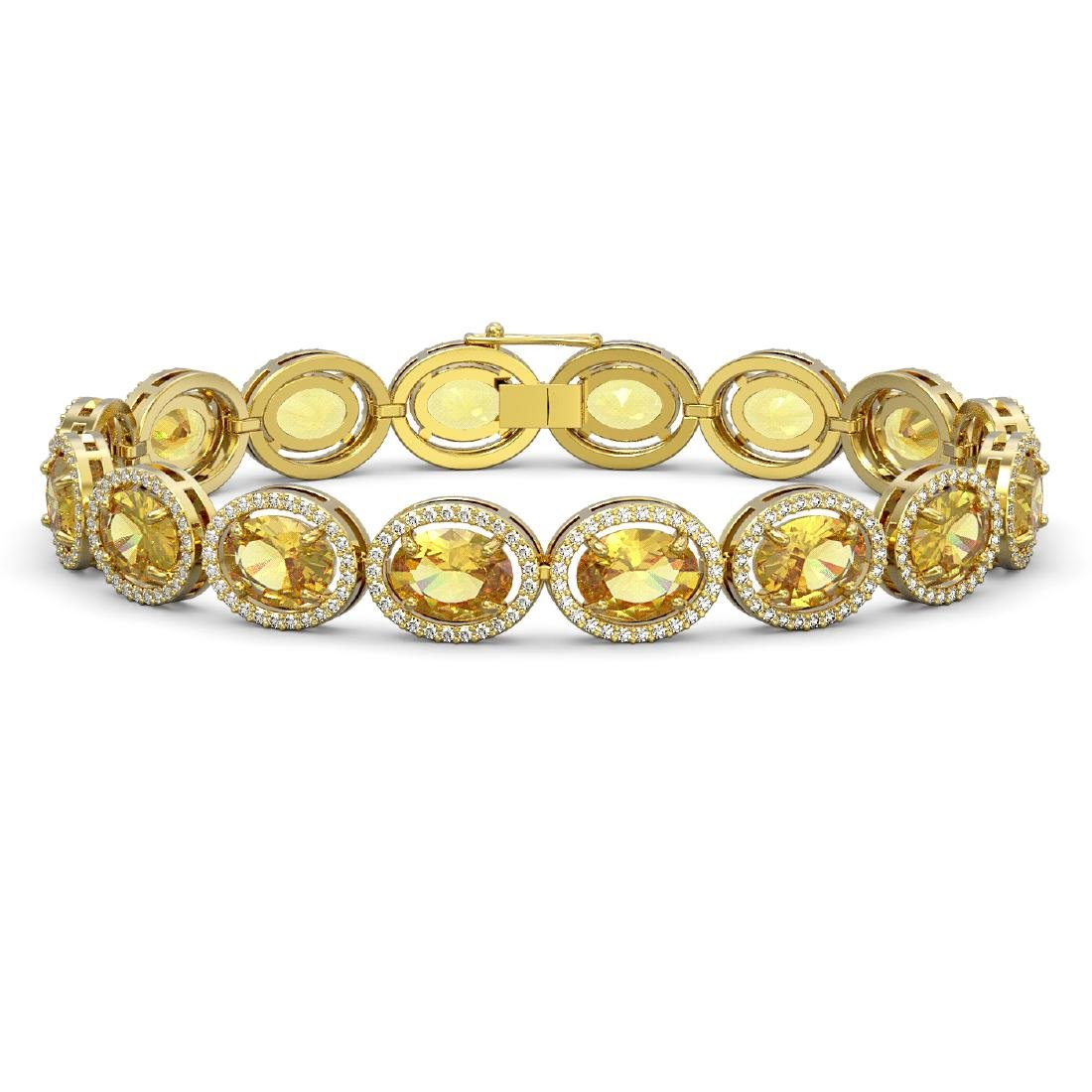 25.24 CTW Fancy Citrine & Diamond Halo Bracelet 10K