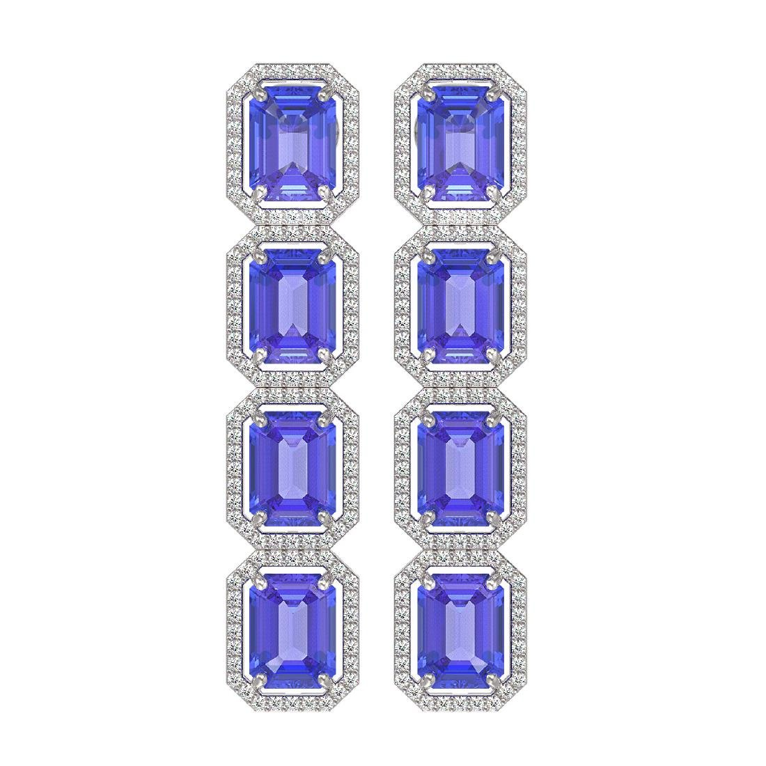 19.39 CTW Tanzanite & Diamond Halo Earrings 10K White