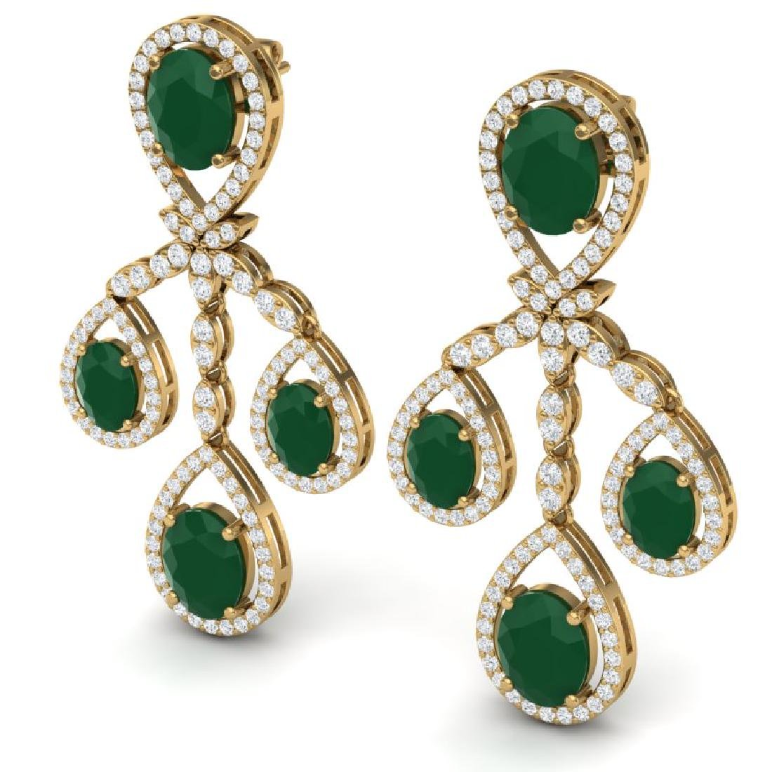 25.08 CTW Royalty Emerald & VS Diamond Earrings 18K - 2