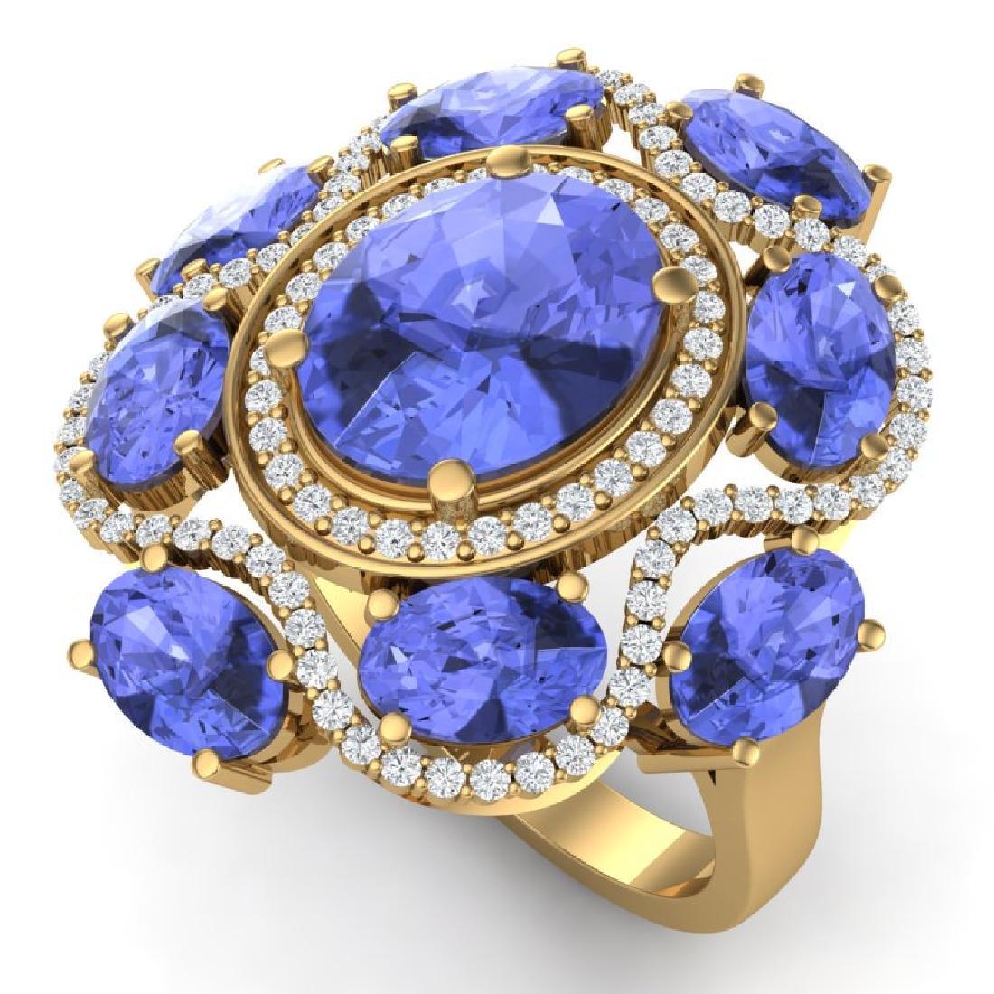 9.67 CTW Royalty Tanzanite & VS Diamond Ring 18K Yellow