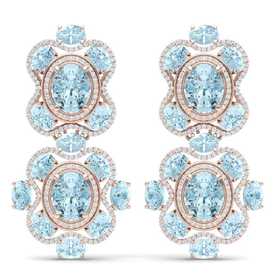 34.96 CTW Royalty Sky Topaz & VS Diamond Earrings 18K