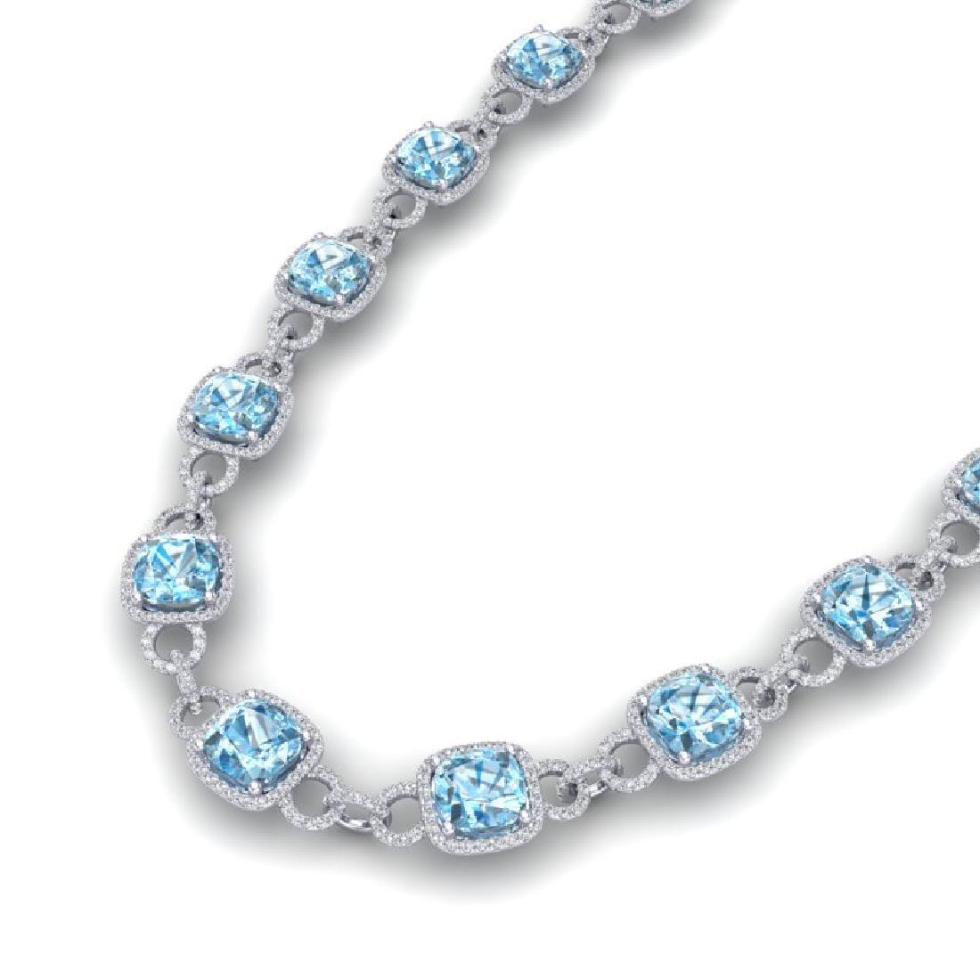 66 CTW Topaz & VS/SI Diamond Necklace 14K White Gold