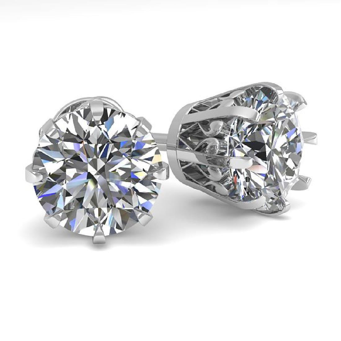 3.09 CTW VS/SI Diamond Stud Solitaire Earrings 14K