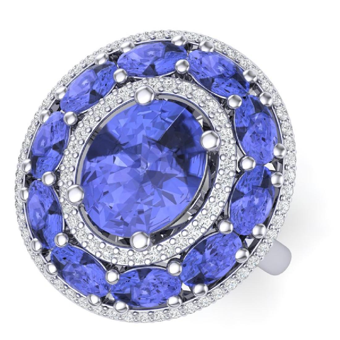 8.49 CTW Royalty Tanzanite & VS Diamond Ring 18K White