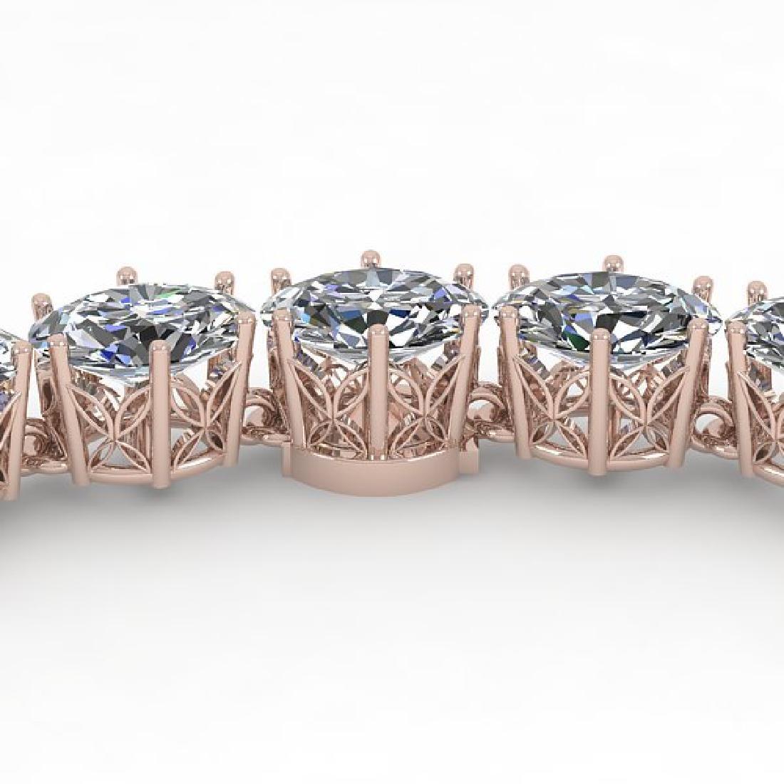 30 CTW Oval Cut SI Diamond Necklace 18K Rose Gold