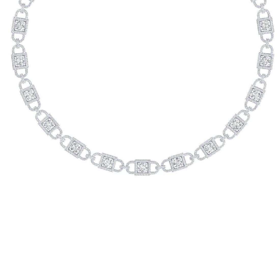 20 CTW Certified SI/I Diamond Halo Necklace 18K White