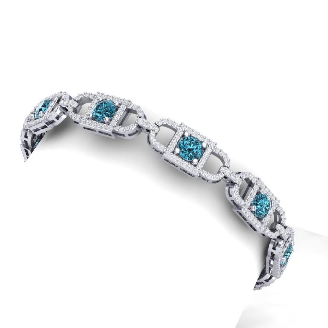 8 CTW SI/I Intense Blue And White Diamond Bracelet 18K