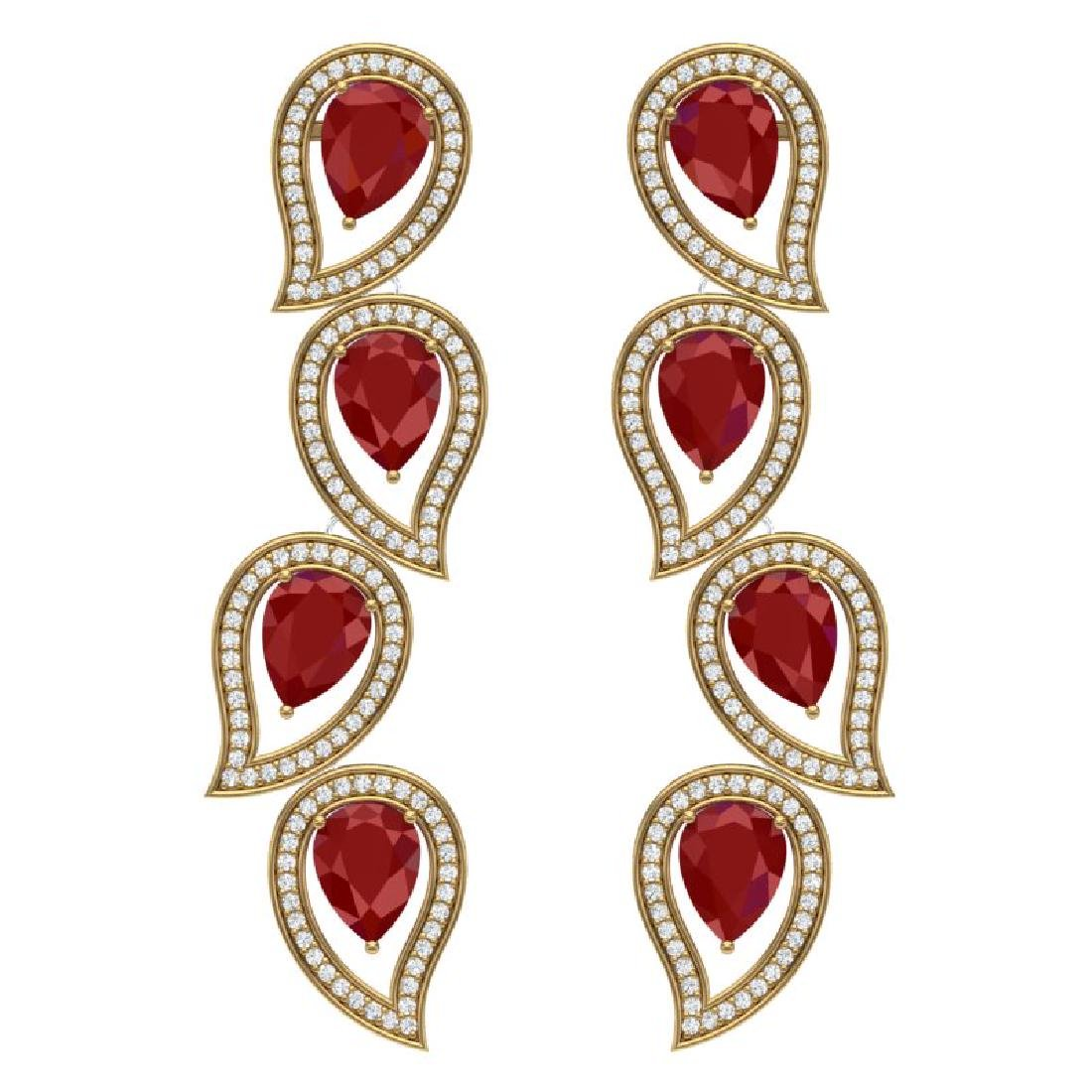 16.44 CTW Royalty Designer Ruby & VS Diamond Earrings