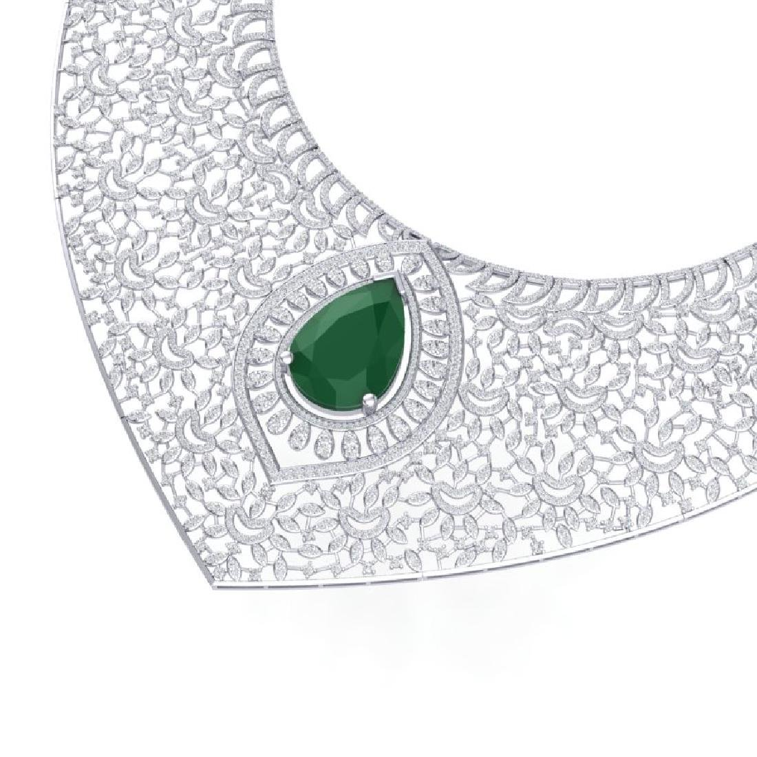 63.93 CTW Royalty Emerald & VS Diamond Necklace 18K