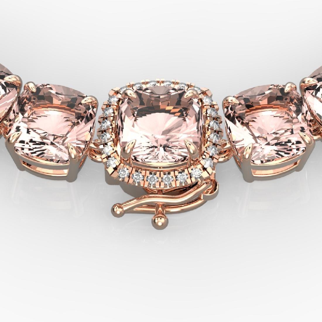 87 CTW Morganite & VS/SI Diamond Pave Necklace 14K Rose