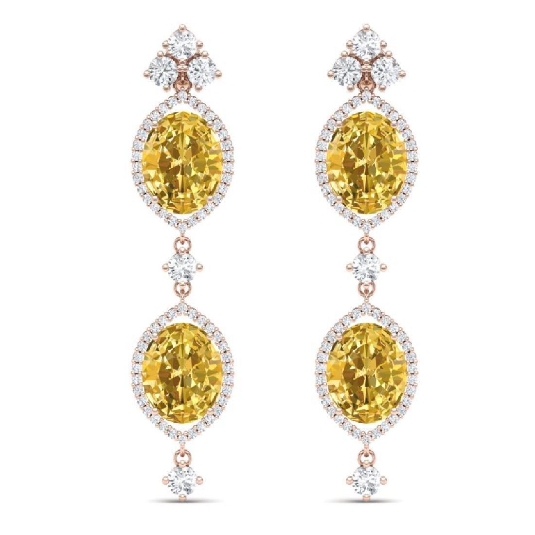 12.21 CTW Royalty Canary Citrine & VS Diamond Earrings