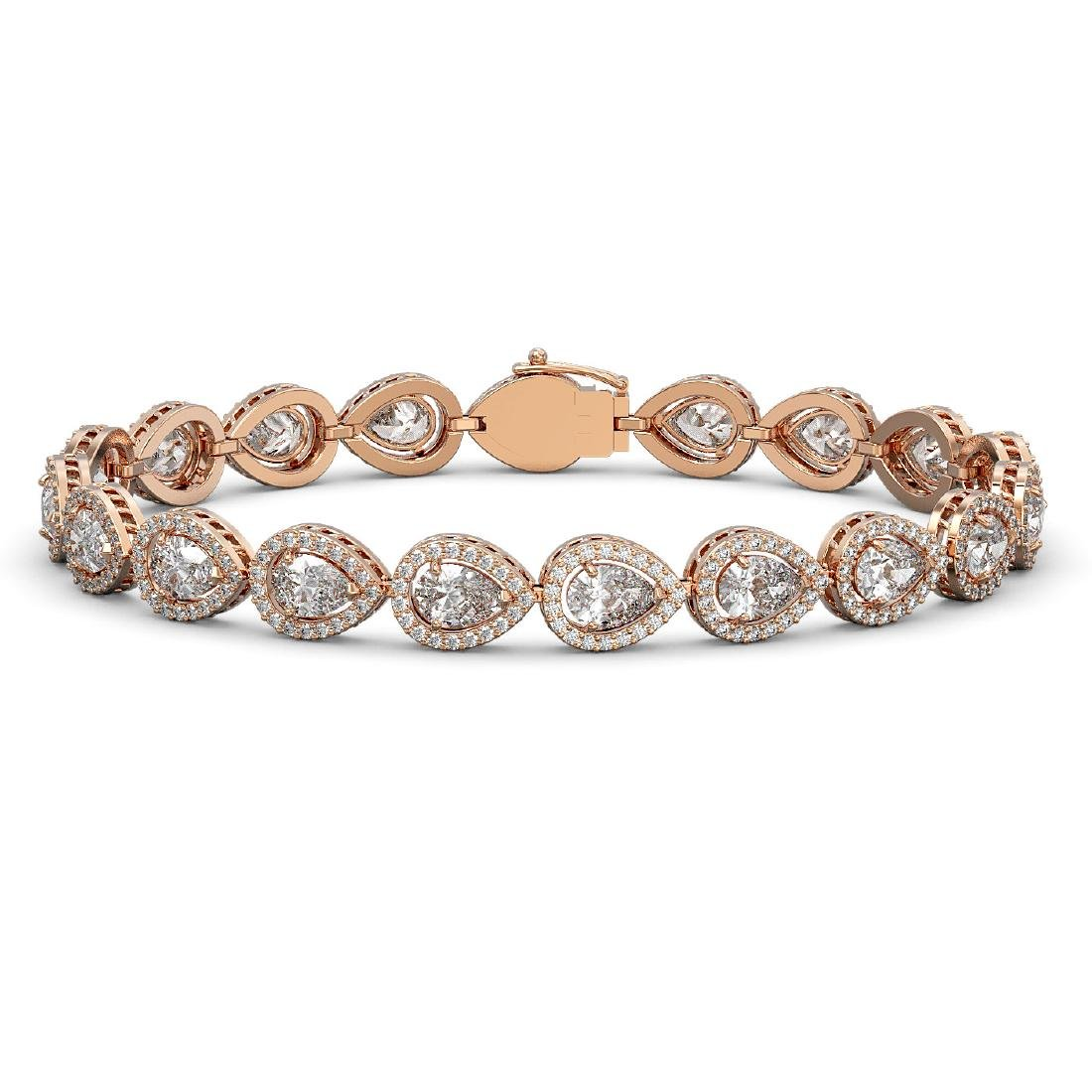14.28 CTW Pear Diamond Designer Bracelet 18K Rose Gold