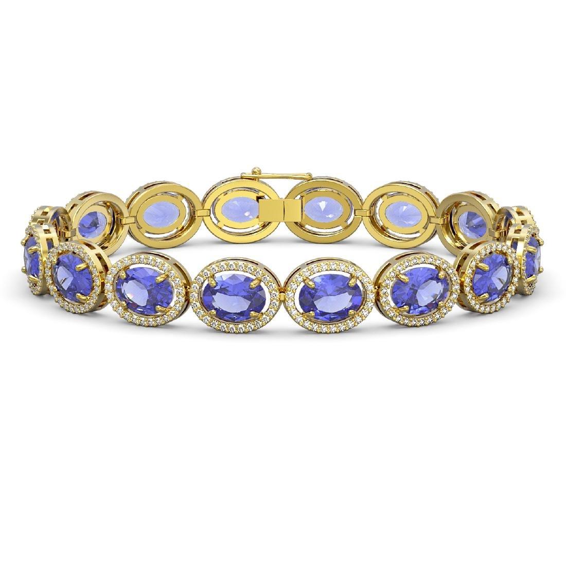 27.28 CTW Tanzanite & Diamond Halo Bracelet 10K Yellow