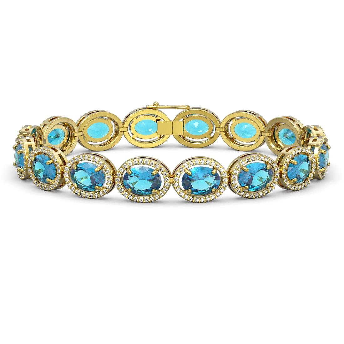 29.53 CTW Swiss Topaz & Diamond Halo Bracelet 10K