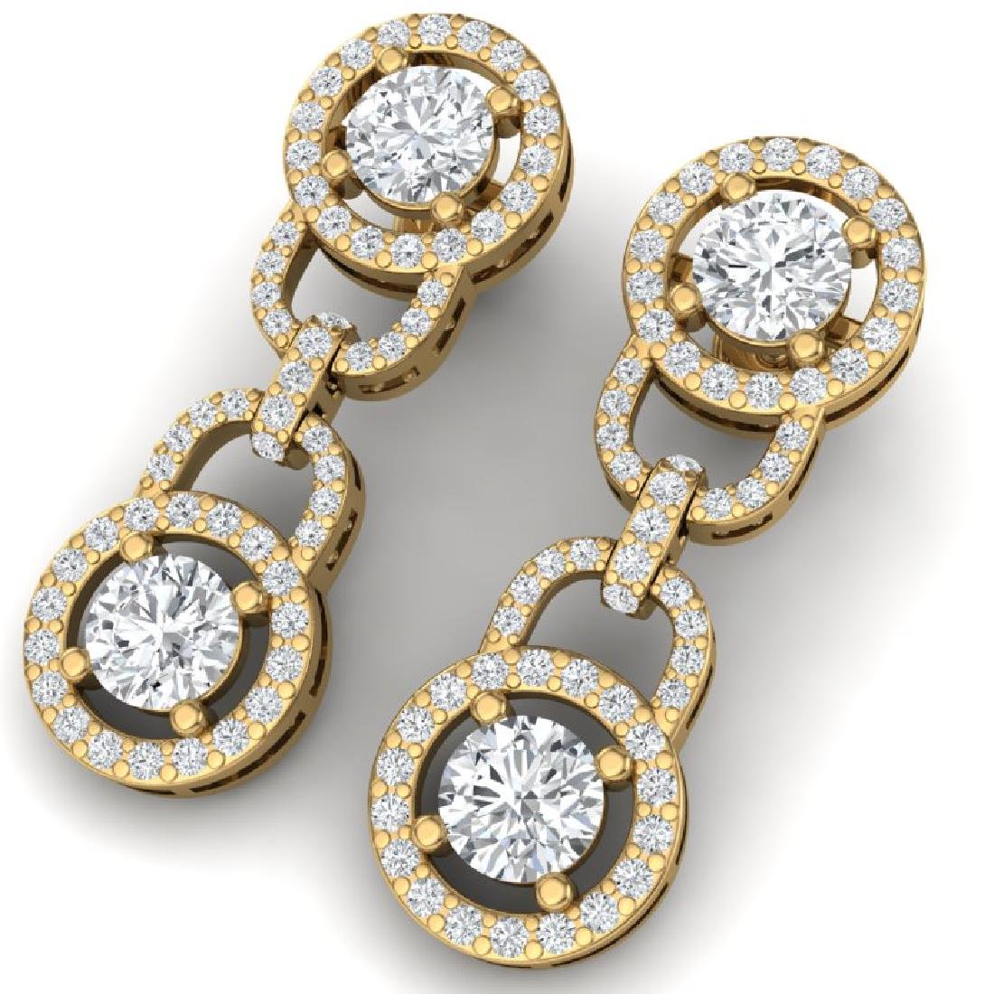 4 CTW Certified SI/I Diamond Halo Earrings 18K Yellow