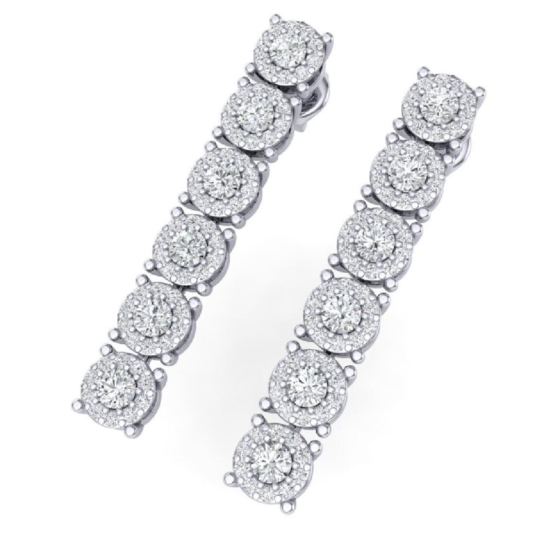 2 CTW Certified SI/I Diamond Halo Earrings 18K White