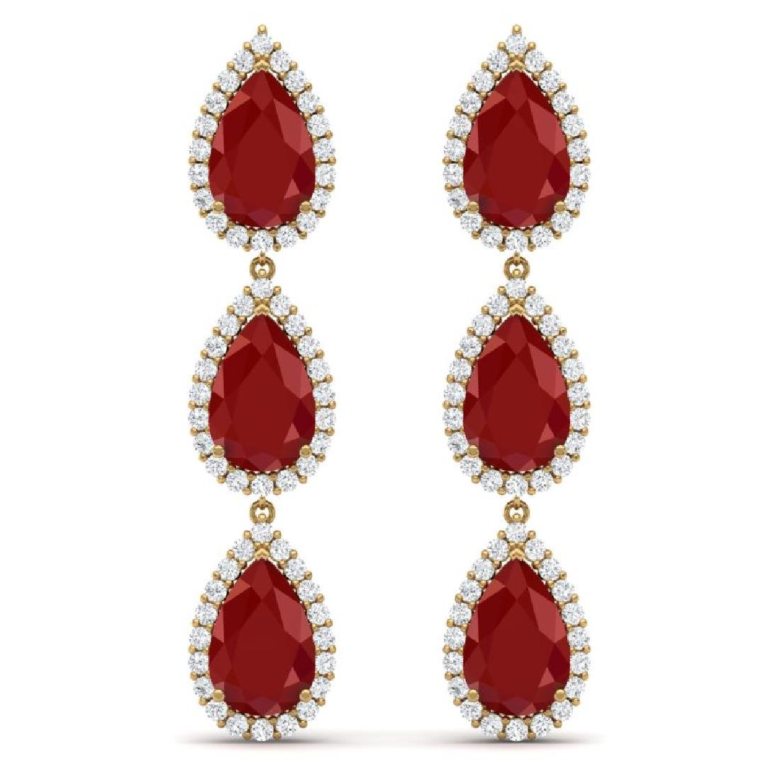 27.06 CTW Royalty Designer Ruby & VS Diamond Earrings