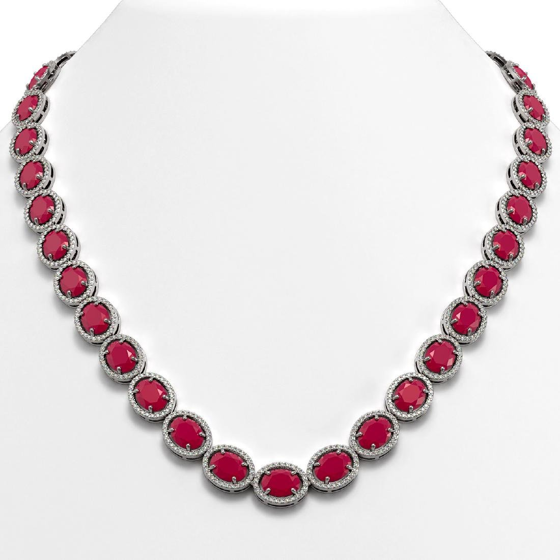 71.87 CTW Ruby & Diamond Halo Necklace 10K White Gold