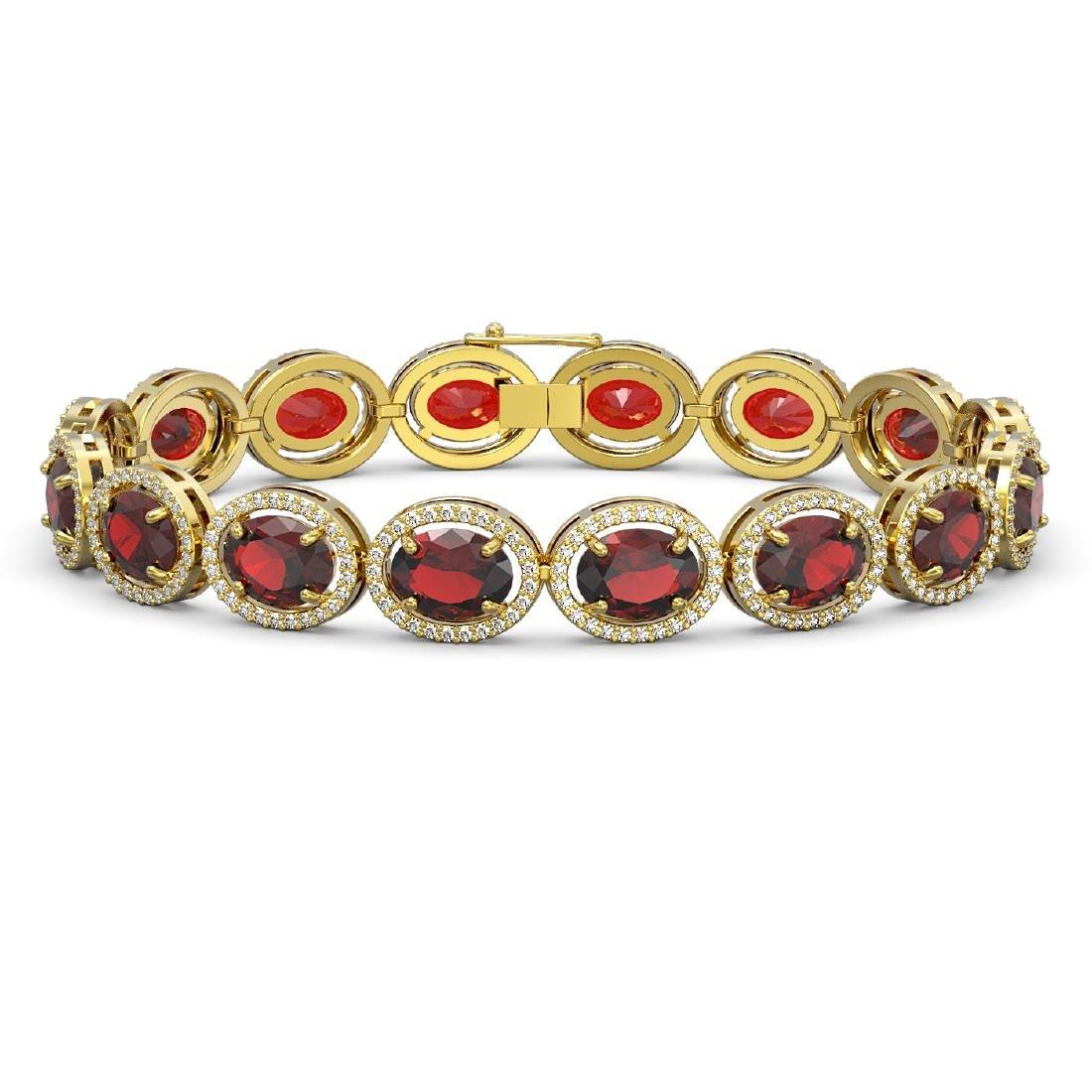 27.28 CTW Garnet & Diamond Halo Bracelet 10K Yellow