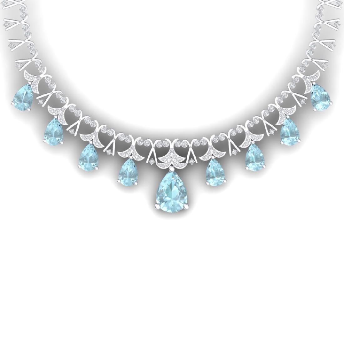 60.62 CTW Royalty Sky Topaz & VS Diamond Necklace 18K