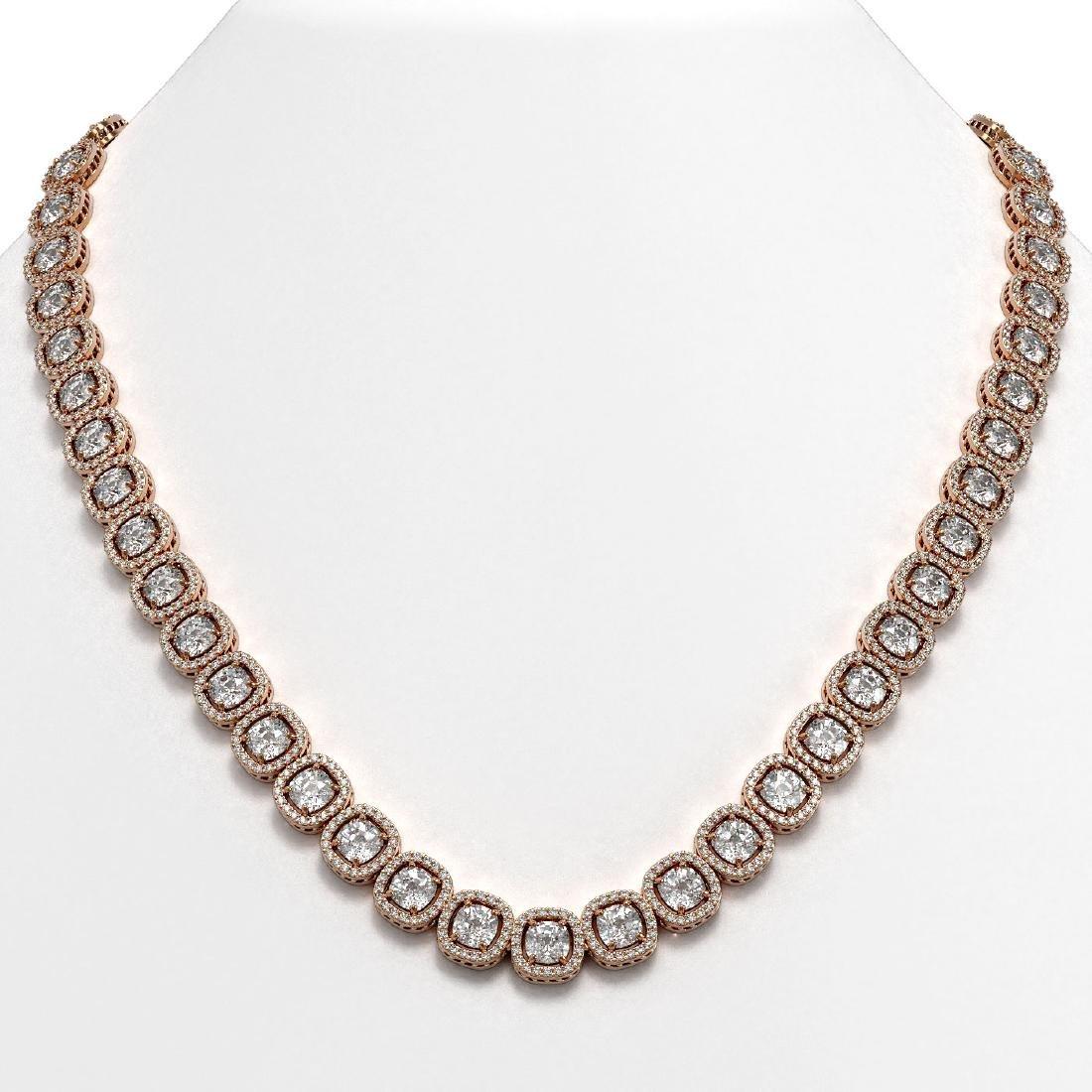 37.60 CTW Cushion Diamond Designer Necklace 18K Rose