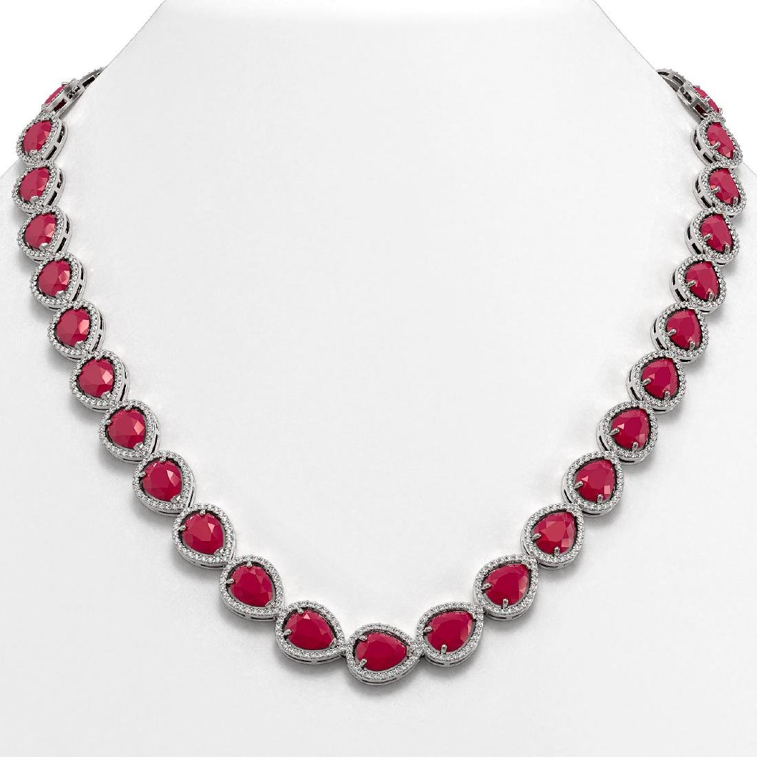 64.01 CTW Ruby & Diamond Halo Necklace 10K White Gold