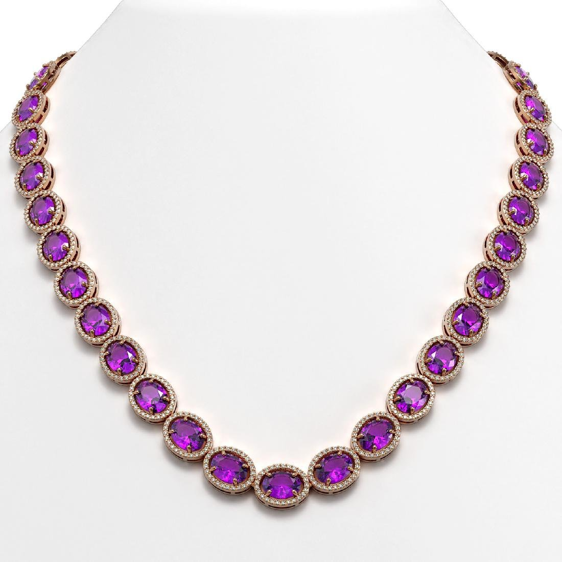 57.07 CTW Amethyst & Diamond Halo Necklace 10K Rose
