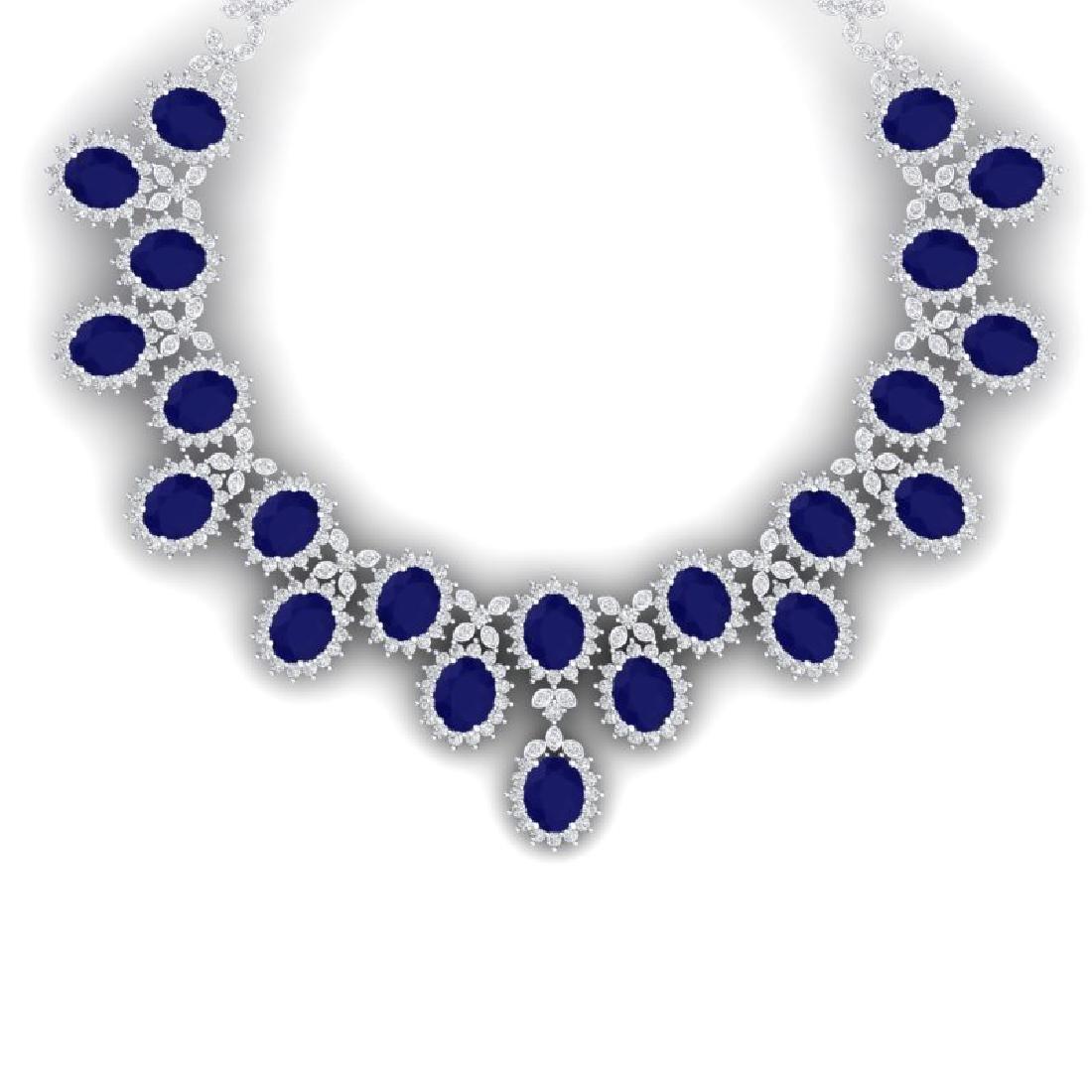 81 CTW Royalty Sapphire & VS Diamond Necklace 18K White
