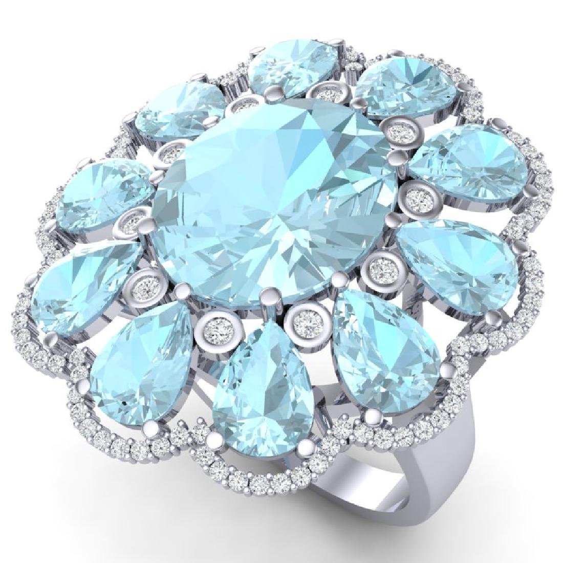 20.54 CTW Royalty Sky Topaz & VS Diamond Ring 18K White