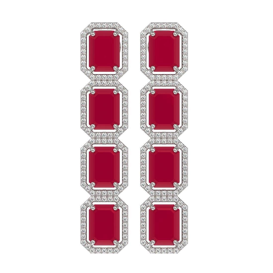 20.59 CTW Ruby & Diamond Halo Earrings 10K White Gold