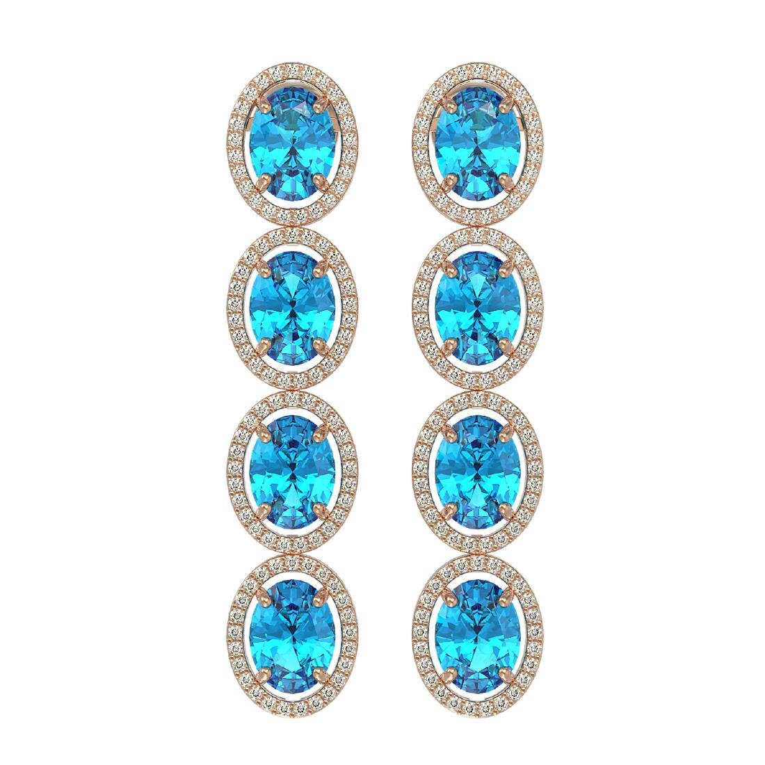 14.76 CTW Swiss Topaz & Diamond Halo Earrings 10K Rose