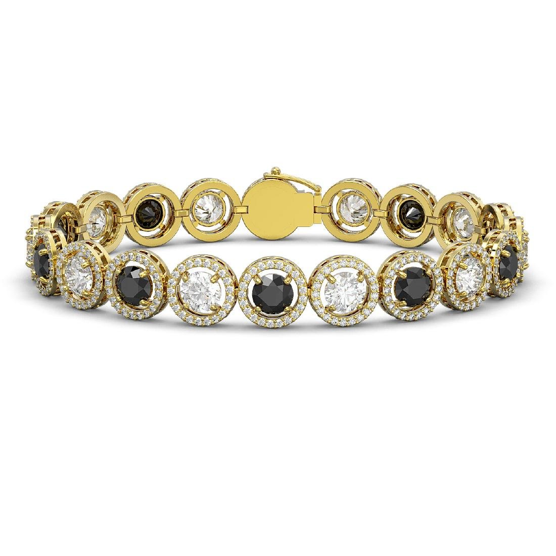 15.47 CTW Black & White Diamond Designer Bracelet 18K