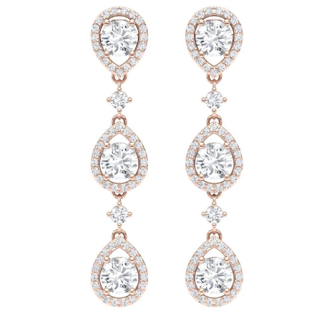 4.45 CTW Royalty Designer VS/SI Diamond Earrings 18K