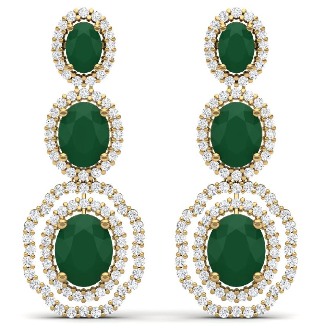 17.01 CTW Royalty Emerald & VS Diamond Earrings 18K