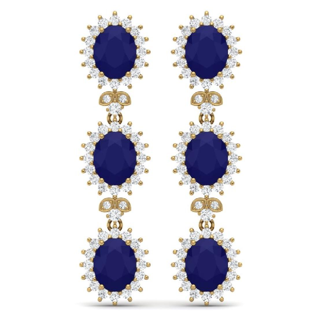 24.52 CTW Royalty Sapphire & VS Diamond Earrings 18K
