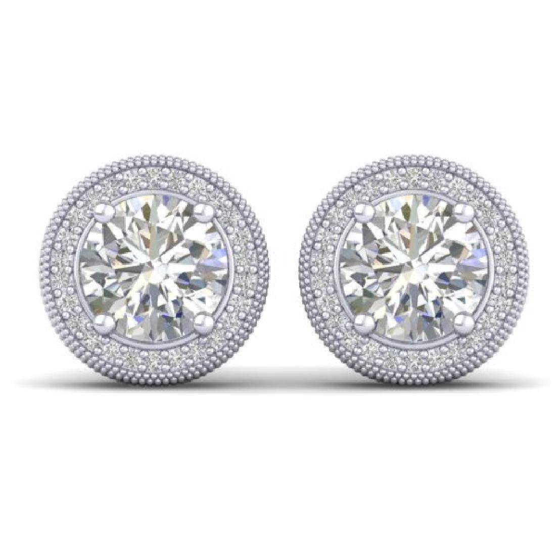 4 CTW Certified VS/SI Diamond Art Deco Stud Earrings
