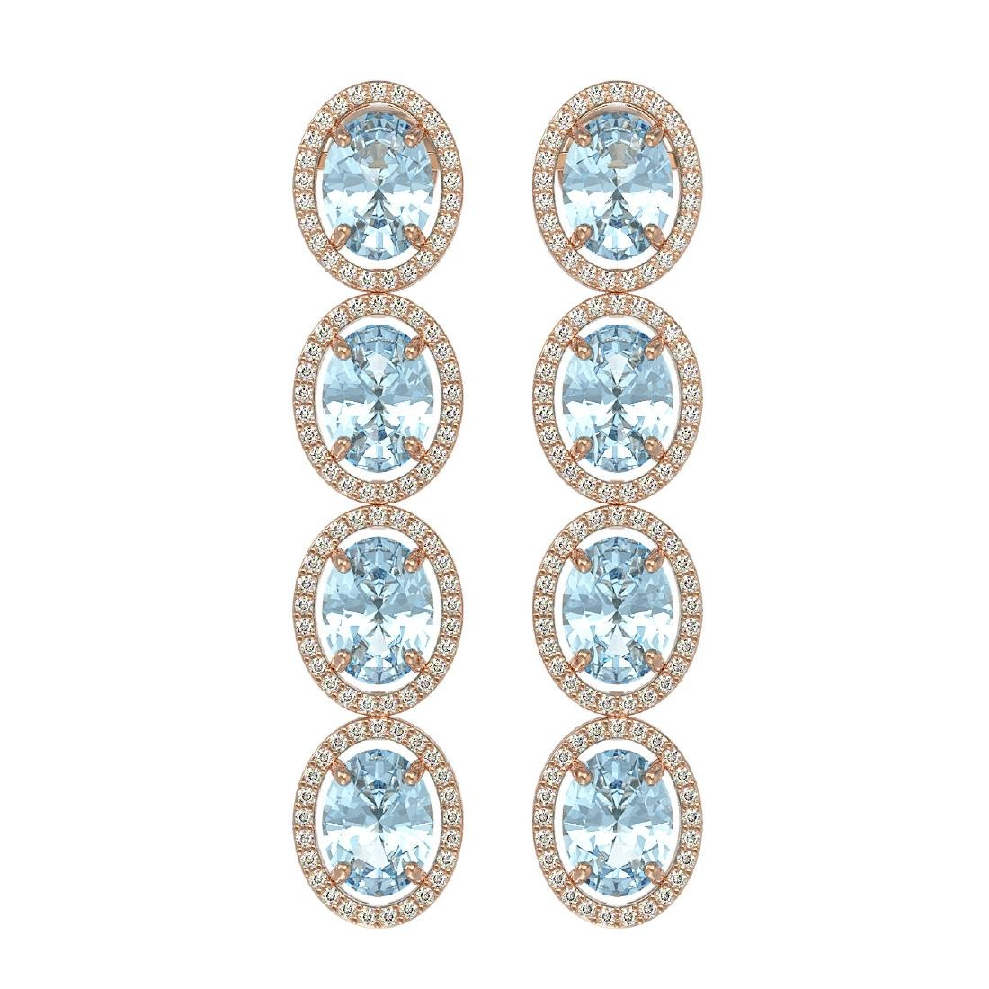11.72 CTW Aquamarine & Diamond Halo Earrings 10K Rose