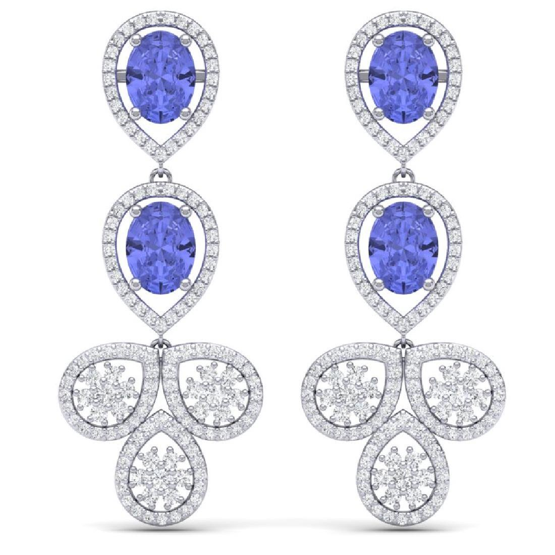 8.75 CTW Royalty Tanzanite & VS Diamond Earrings 18K