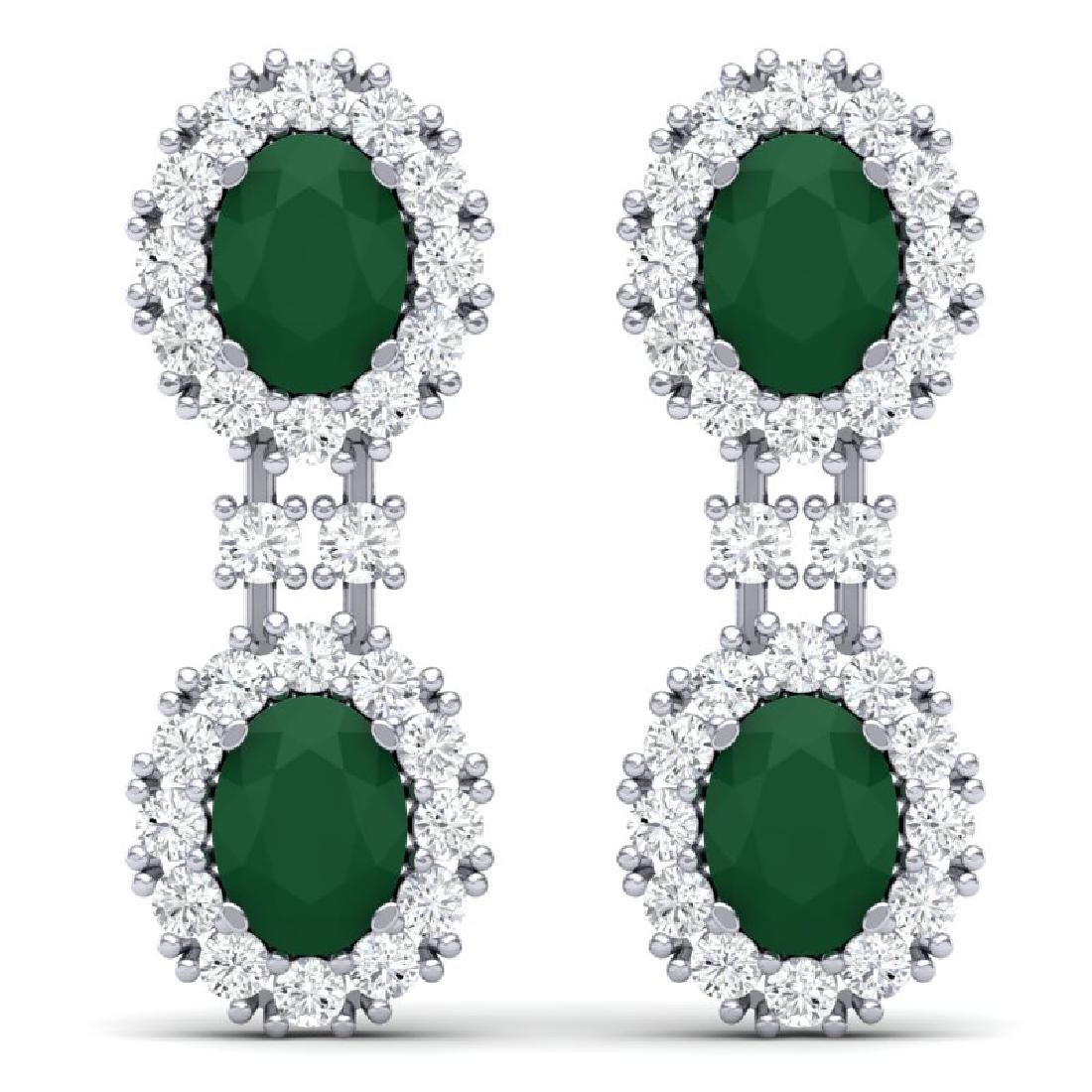 8.98 CTW Royalty Emerald & VS Diamond Earrings 18K