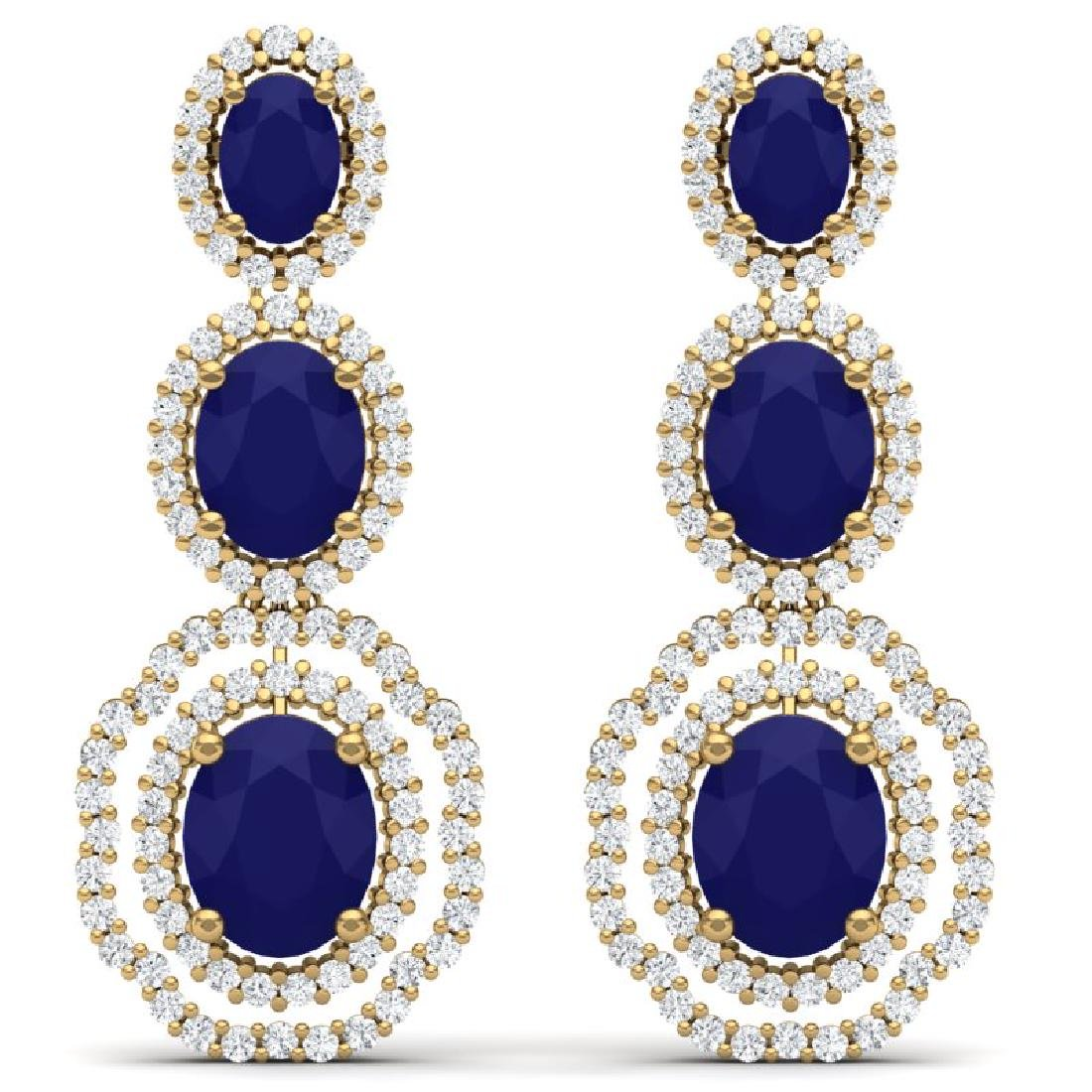 17.01 CTW Royalty Sapphire & VS Diamond Earrings 18K