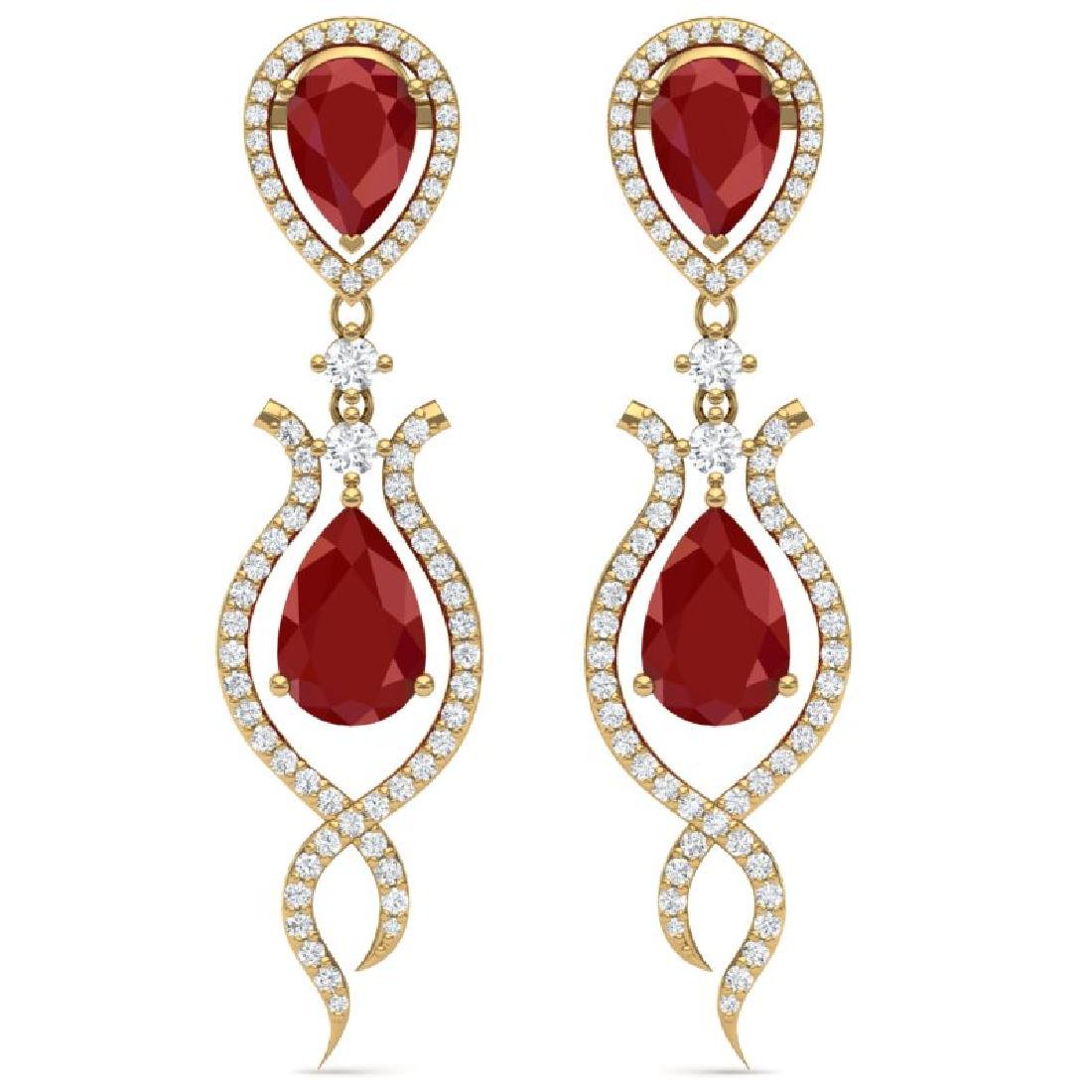 16.57 CTW Royalty Designer Ruby & VS Diamond Earrings