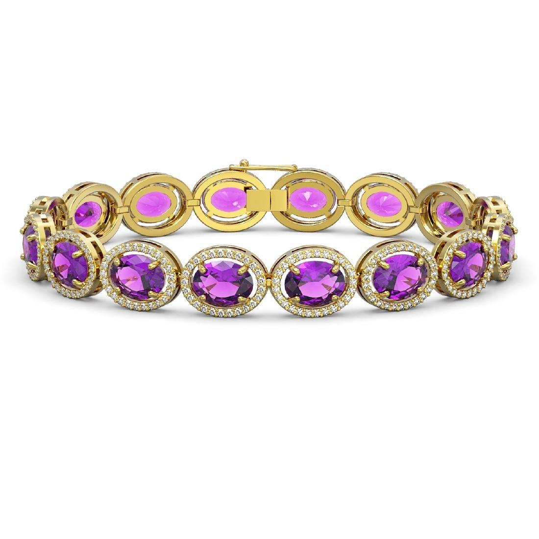 24.72 CTW Amethyst & Diamond Halo Bracelet 10K Yellow