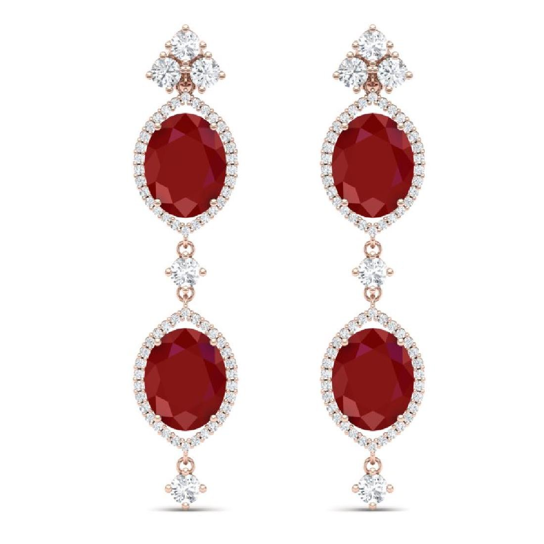 15.81 CTW Royalty Designer Ruby & VS Diamond Earrings