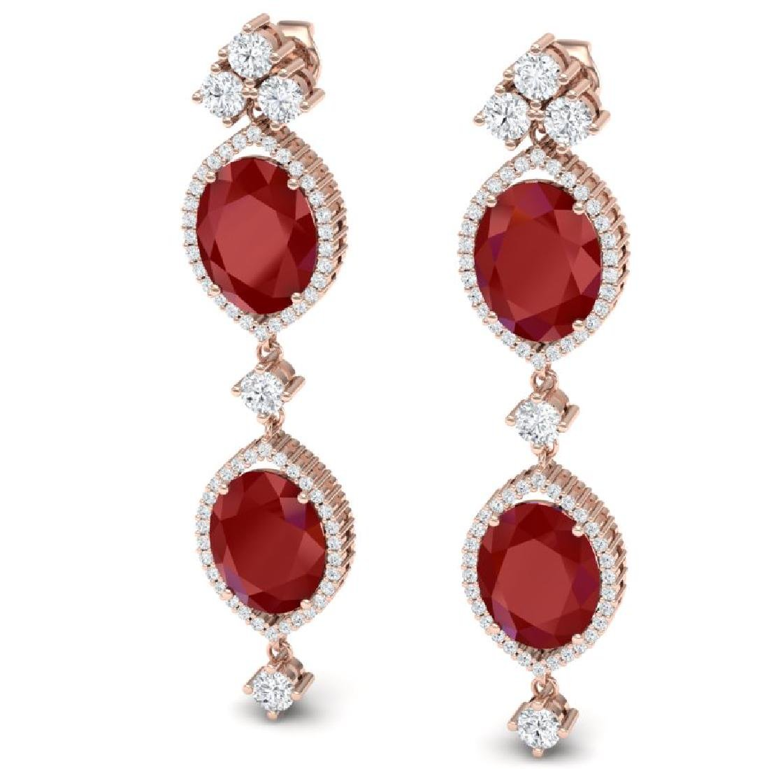 15.81 CTW Royalty Designer Ruby & VS Diamond Earrings - 2