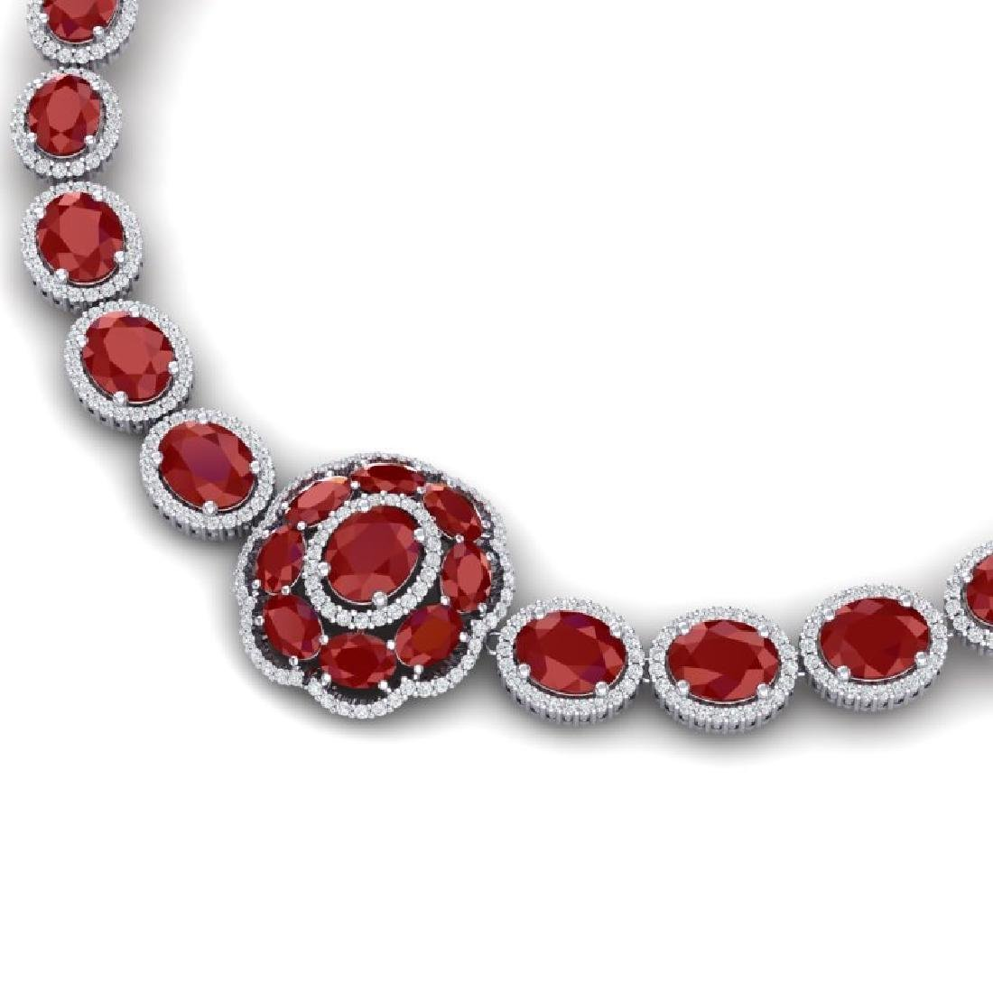 58.33 CTW Royalty Ruby & VS Diamond Necklace 18K White