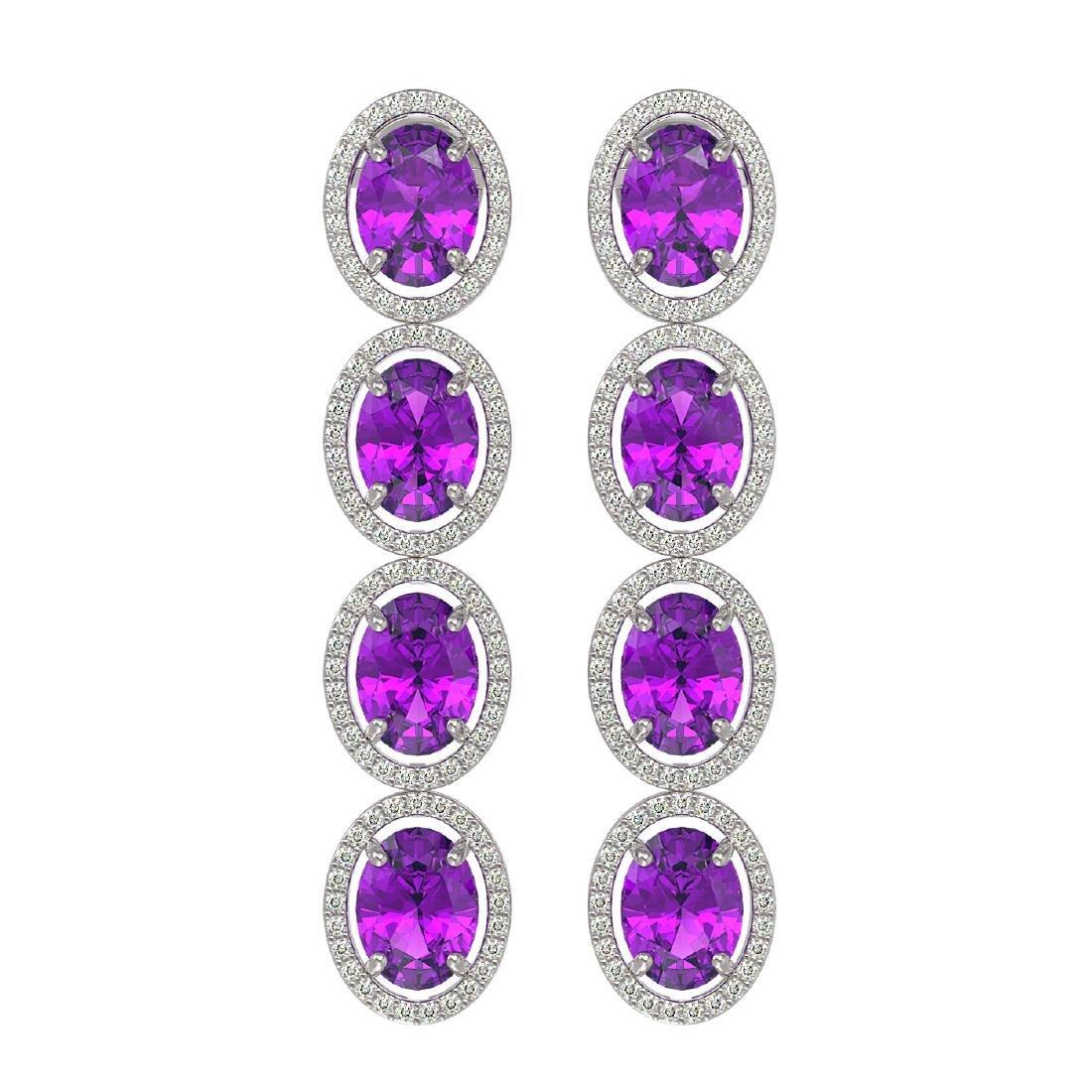 12.36 CTW Amethyst & Diamond Halo Earrings 10K White