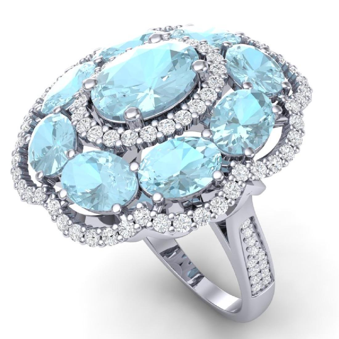 14.89 CTW Royalty Sky Topaz & VS Diamond Ring 18K White