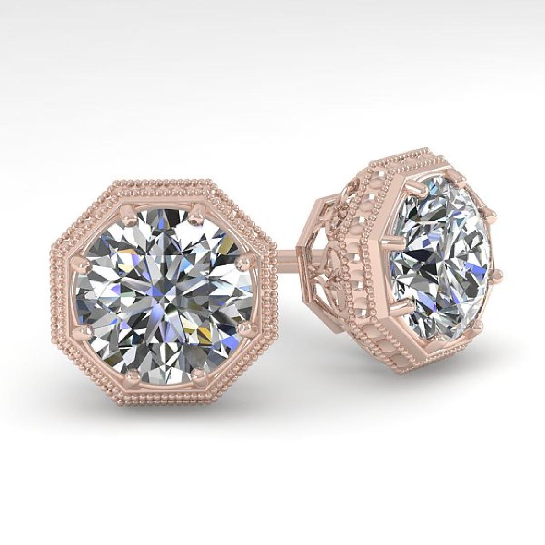 2 CTW VS/SI Diamond Stud Solitaire Earrings 18K Rose