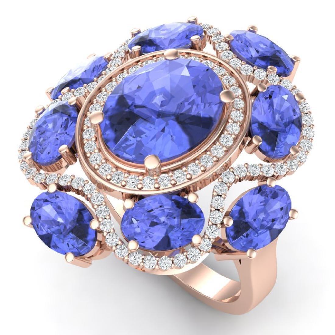 9.67 CTW Royalty Tanzanite & VS Diamond Ring 18K Rose