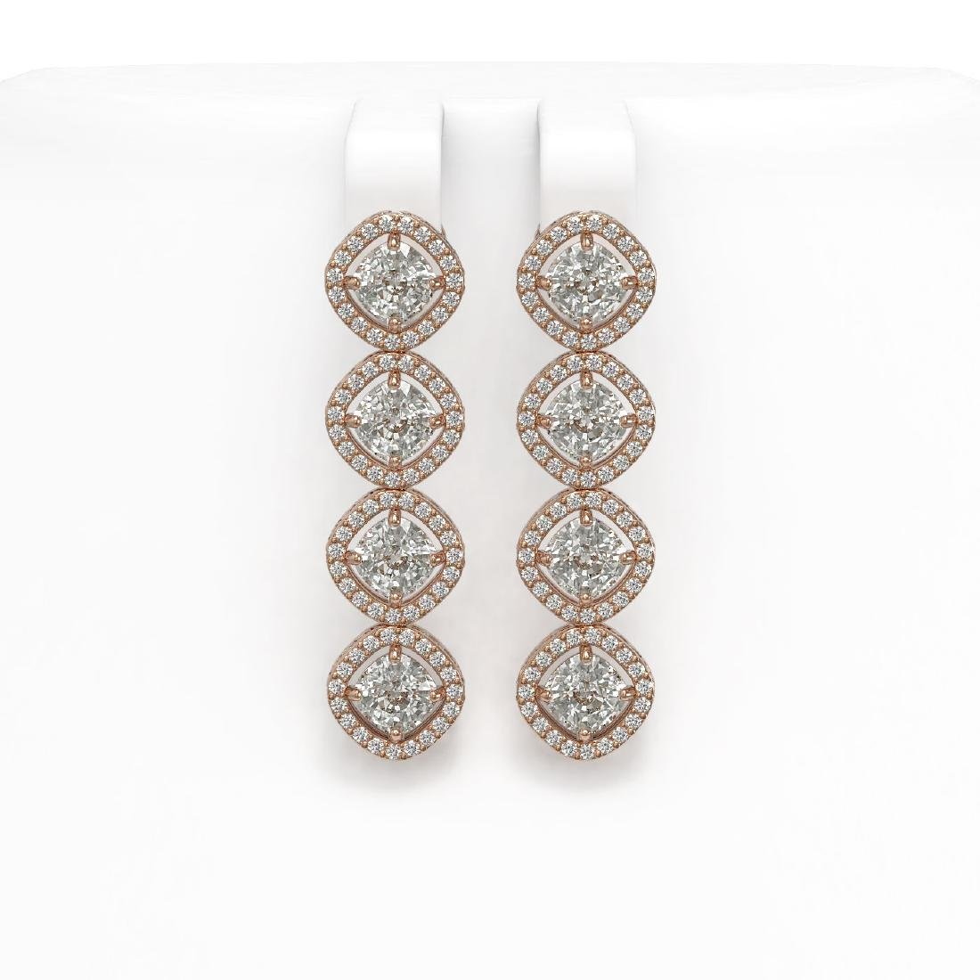 5.85 CTW Cushion Cut Diamond Designer Earrings 18K Rose